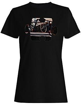 Rompecabezas viejo vintage hermoso coche camiseta de las mujeres e567f