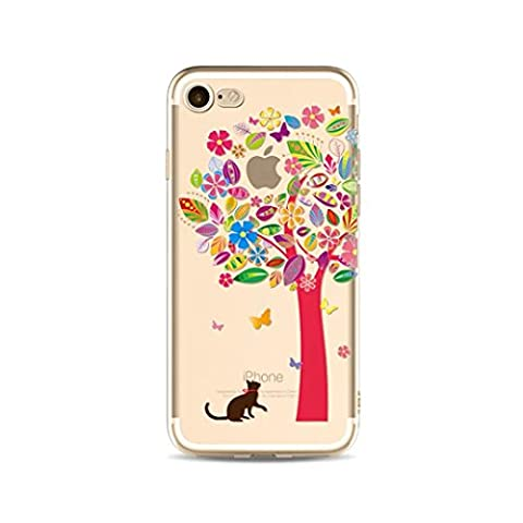 KSHOP iPhone SE / iphone 5 / iphone 5s Beautiful Pattern Printing Protective Case Cellphone Cover Clear TPU Silicone Case Soft Case Ultra-thin Lightweight Case Cover Anti-shock Scratch Resistant Case Cover - Black Cat Trees Black