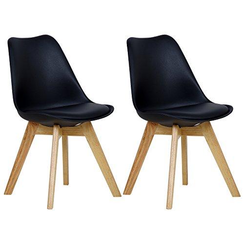 WOLTU 2 Chaises de Salle à Manger Cuisine/Salon chaises,Design en Similicuir et Bois Massif,Noir BH29sz-2