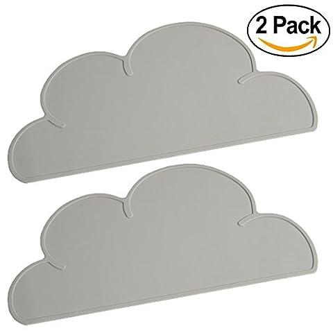 threecat Cloud en silicone Set de table pour enfant bébé portable Plaque Tapis antidérapant Tapis de table