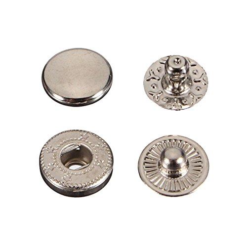 SODIAL(R) 15X Druckknoepfe Druckknopf Snap Klick Buttons 15mm fuer Zange silber - Silber Zange