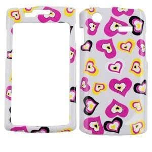 SAMSUNG CAPTIVATE I897 Multi Funky Hearts on White HARD PROTECTOR COVER CASE / SNAP ON PERFECT FIT CASE
