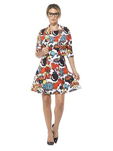 Comic Kostüm Strip - Smiffys Damen Kostüm Comic Strip Kleid Jacke Karneval Fasching Gr.L