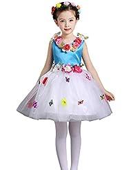 ZAMME Chicas Danza Pageant flor de cumpleaños impreso Bowknot vestido sin mangas