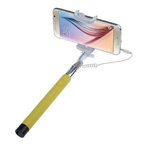 ARTLU® Selfie-Stange Selfie-Stick Teleskop-Stange Selfie Stick in 9 verschiedenen Farben Monopod Selfie Einbeinstativ Ausziehbare Stick (Nein Bluetooth) mit Einstellbaren Klemme für Smartphones, iPhone, Samsung, Huawei, LG, Sony--Gelb