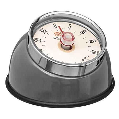 SECRET DE GOURMET Küche Timer Retro Vintage Design Magnetisch Edelstahl 3 Farben-Sortiert bis 60 Minuten (Grau)
