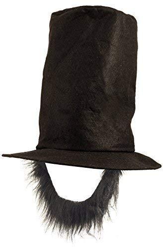 Fancy Me Herren Schwarz Abraham Lincoln American 4th Juli Independence Day President Promi Kostüm Kleid Outfit Hut mit Bart Zubehör - Schwarz, One Size