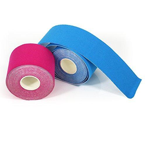 YuMai Kinesiologie Tape - Wasser und Schweiß resistent - Muskel Tape reduziert Ermüdung und Verletzungen - 5 cm x 5 m, 2 Stück (Pink + Blau)