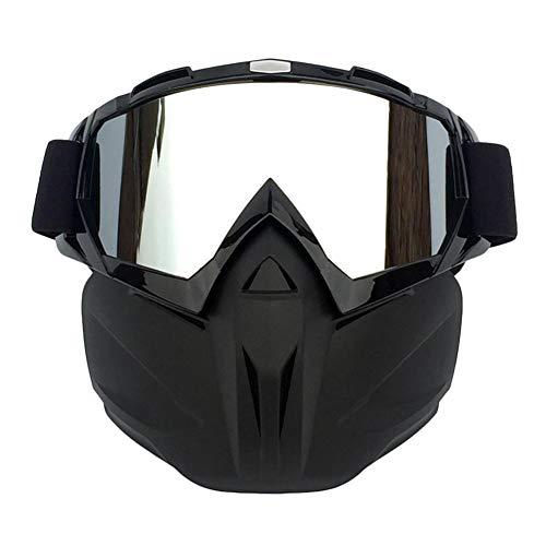 Brownrolly Motorradbrille Maske Schneebrille mit Abnehmbarer Maske für CS/Wüste Offroad Reiten/Skifahren/Schneemobil/Radfahren/Halloween/Kostümball Schwarz