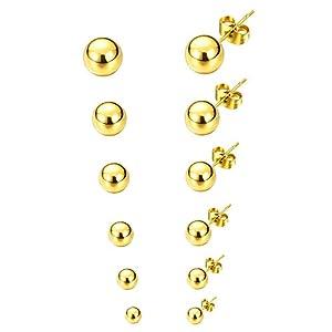 6 Paar Edelstahl Kugel ohrstecker für Männer und Frauen