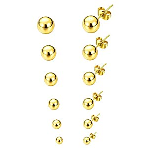 6 Paare Edelstahl Ohrringe Herren Gold, Ohrringe Männer Stecker, Ohrringe Damen Set, Ohrringe Kugel Gold, Ohrstecker Kugel Gold Kein, Titan Ohrstecker Herren Damen Männer Gold Tunnel Plug 3MM-8MM