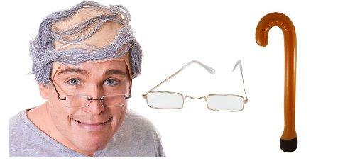 Herren Old Man Opa Kamm Bald grau-Kostüm Perücke, Brille, (Perücken Kamm Kostüme)