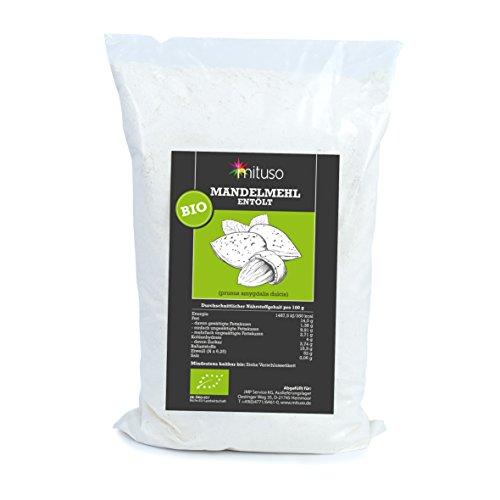 Preisvergleich Produktbild mituso Bio Mandelmehl,  entölt,  blanchiert,  1er Pack (1x 1kg) in Tüte