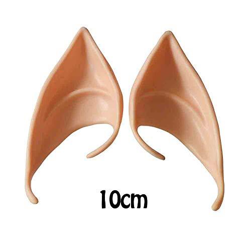 Wawer 1 Paar Fee Elfenohren Spitzohren Latex Hobbit Ohren für Erwachsene Kinder Kostüm Halloween Karneval Fasching (B)