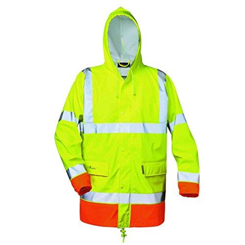 Warnschutz PU-Stretch Regenjacke Norway *Norman* gelb/orange Gr. XXL Kapuzen-parka Stretch