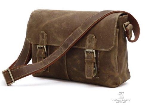 True Grit Leather-Sella in cuoio pieno fiore portatile-Borsa a tracolla Messenger incrociato (34 CM)