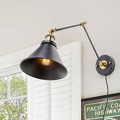 Schwarz Metall Industrie Swing Arm Wand Wandleuchte Lampenschirm Bluetooth (Leuchtmittel nicht enthalten) -