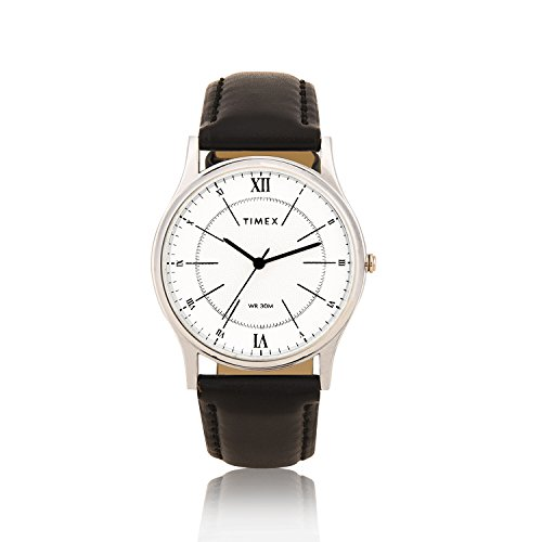 TIMEX Mens' White Dial With Black Leather Strap Analog Quartz Watch For Men And Women