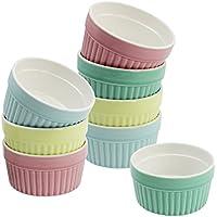 Com-Four® Petits bols pour plats mijotés, tourtes, crème brûlée, 200ml, différentes couleurs pastel 08 Stück - bunt