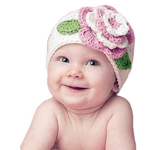 Kolylong Baby-Blumen Warm Beanie Wollmütze (3-12 Monate alt)(33cm-42cm / 13:00