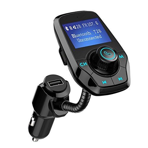 Mpow Trasmettitore Fm Bluetooth Auto, 1, 44'' Schermo Ben Visibile-Piegare in Qualsiasi Direzione, Vivavoce Bloototh per Auto-Facile da Accoppiare allo Smartphone-Supporta AUX/USB/Scheda SD/Bluetooth