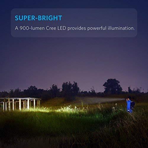 Anker LC90 LED Taschenlampe, IP65 Wasserfest,Super Helle 900 Lumen CREE LED, 5 Licht Modi, Wiederaufladbare Taschenlampe im Hosentaschenformat mit Zoom für Camping (Inklusive