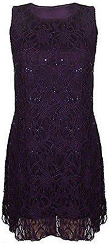 femmes de taille plus floraux paillettes dentelle bordées longue robe sans manches de veste purple