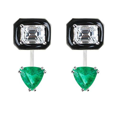 Gemfields x MUSE - 18 Karat Weißgold Triangelschliff Émeraude Diamant