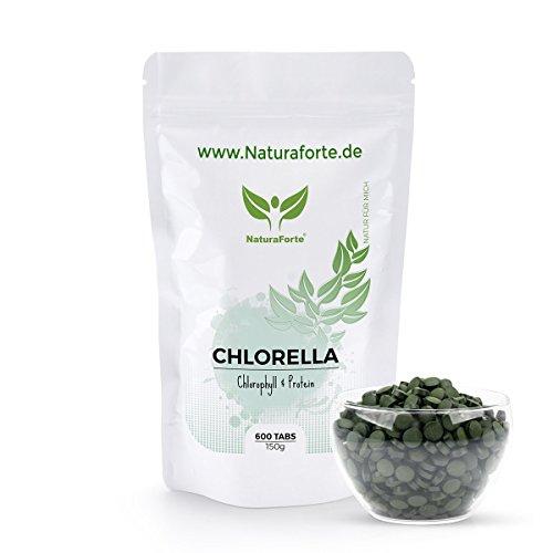 NaturaForte Chlorella Algen Tabletten (600 Stück = 150g) - Natürlich, Hochdosiert, Rein und ohne...