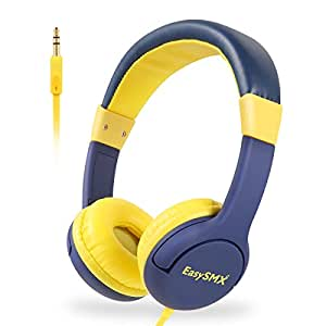 EasySMX [Casque Audio Enfant Anti-Bruit] Mignon Accessoire d'Apprentissage pour Enfant 3-12 Ans, Casque de Protection Oreilles Confortable à Limitation de Volume (Prince Bleu)