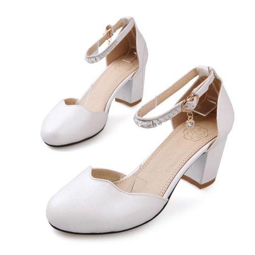 Balamasa da donna, con tacco basso, suola con motivo scarpe White