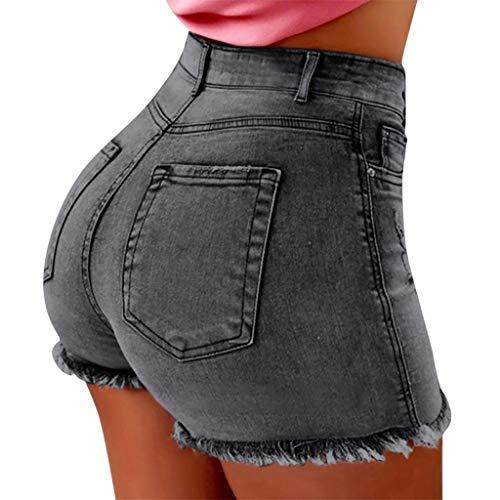 Deloito Neu Sommer Kurz Hotpants Damen Mode Jeans Shorts Sexy Taschen High Waist Denim Mini Hose mit Taschen (Grau,XX-Large) -