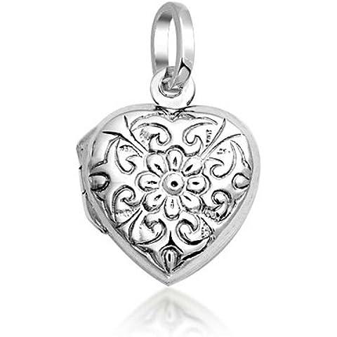 Bling Jewelry 925 Sterling Silver inciso Fiore Foglia cuore pendente del Locket