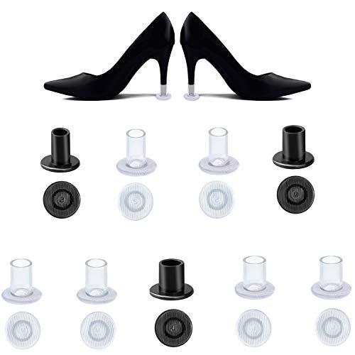 HBselect 9 Paar Absatzschoner Stöckelschuh Absatzschutz High Heel Protectors Stoppers für Rennen, Hochzeiten und andere Formelle Anlässe S/M/L schwarz und klar 9 High Heels