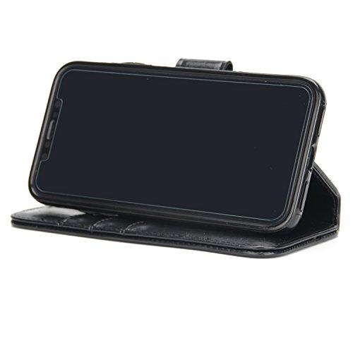 BCIT iPhone 8 Leder Handytasche - Geldbörse mit Kartenfach abnehmbar Magnet Handy Schutzhülle für iPhone 8 - Braun Schwarz