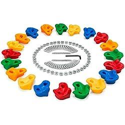 Ensemble de Prises d'Escalade texturée avec Boulons & écrous - 40pièce Boulon & Vis + 20Pièces Pierres Poignées d'Escalade tient l''intérieur / extérieur de roche a placé le jeu pour des enfants