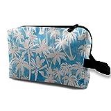 Makeup Bag Portable Travel Cosmetic Bag Maui Palm Turqiouse Mini Makeup Pouch for Women Girls