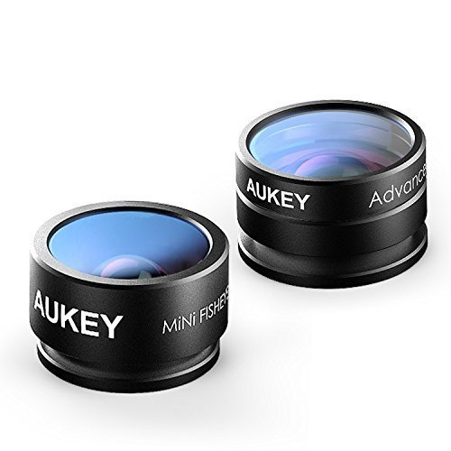 Aukey 2 in 1 Mini Clip-on Cell Phone Camera Lens Kit, 180 Degree Supreme Fisheye Lens + 20 X Macro Lens for iPhone 6S, 6S Plus, Samsung Galaxy, Windows, and Android Smartphones