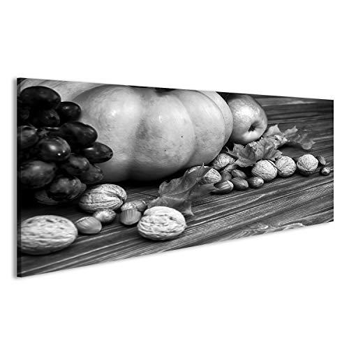 islandburner Bild Bilder auf Leinwand Kürbis, Apfel, Nüsse, Beeren mit Ahornblättern auf hölzernem Hintergrund Herbst Karte Erntedankfest Halloween Vintage schwarz und weiß getönt Wandbild,