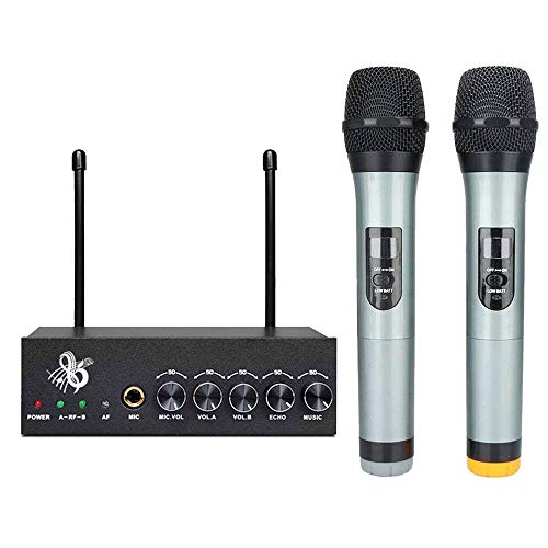 Wireless Mikrofon VHF Funkmikrofon Bluetooth Mikrofon Kabellos Handmikrofon Set mit Zwei Dynamischen Mic und LED-Display für Karaoke Party Konferenz Sitzung Show Bar Studio Bluetooth Wireless Mikrofon