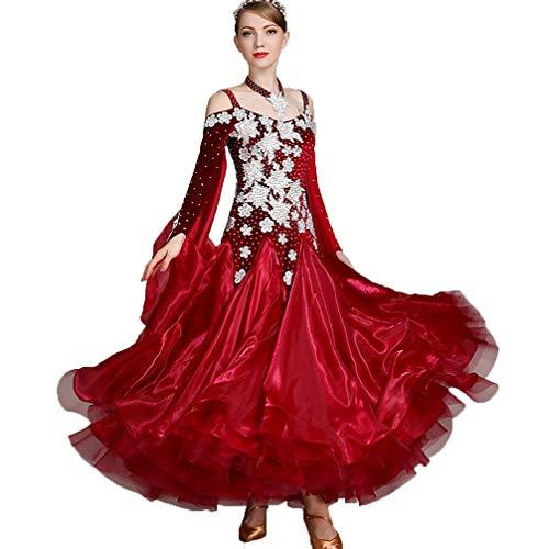 Samt Walzer Modern Dance Kostüm Damen Nationales Standardtanzkleid Riemen Performance Anzug Wettbewerb Kleider, - Modern Dance Kleid Kostüm