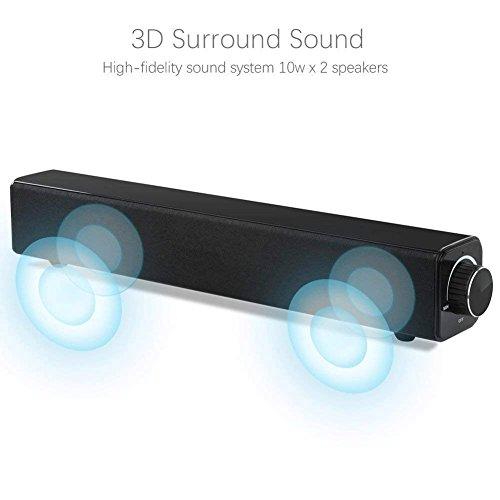 Barra de sonido  barra de sonido con altavoz Bluetooth  con cable e inalámbrico Altavoz estéreo de 20W  audio HD  música de bajo  sistema de cine en casa portátil Altavoz con barra de sonido envolvente para PC  teléfono celular  TV  proyector de tableta