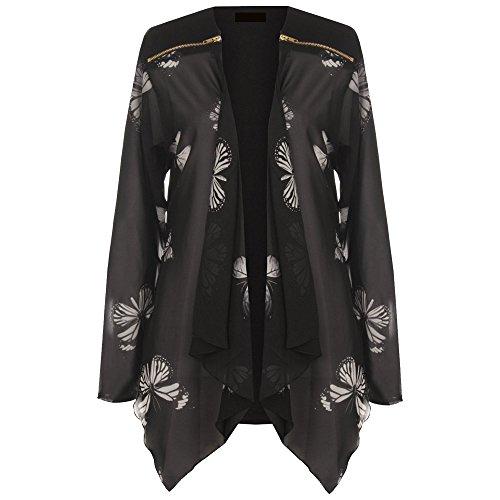 Women Plus Ladies Long Sleeve Chiffon Butterfly Print Sheer Cardigan Blazer 8-28 Test