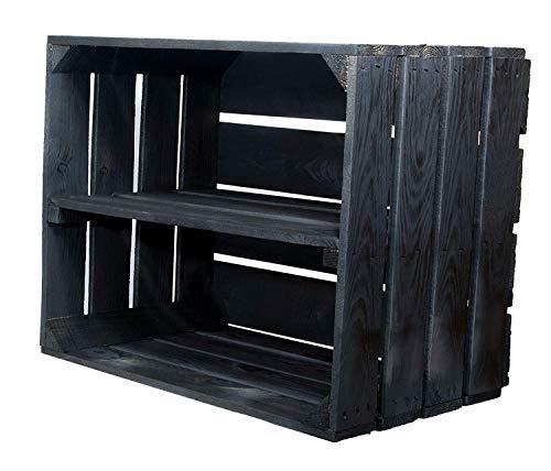 3er Set Schwarze Kiste mit Mittelbrett längst - Kistenregal Regalkiste Schukiste Schuhregal...