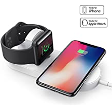 Base de Carga para Apple Watch, Corki Cargador Inalámbrico [Dock de Carga] Soporte Stand Inalámbrico Para Apple iWatch Series 3/ Series 2/ Series 1, Iphone 8/ iPhone 8 Plus/ iPhone X y Otros Dispositivos con QI (Sin adaptador de CA)