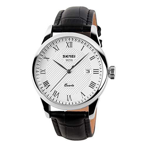 Herrenuhren Einfaches Gitter Römische Kalender Analog Armbanduhren für Herren Leder Casual, Schwarz-weiß