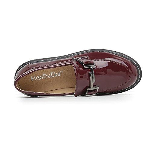 JRenok Chaussures de Ville Femme Baskets Mode Enfiler Mocassins Cuir Sneakers Antidérapantes Confortable Plateforme 34-43 Rouge