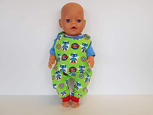 e Puppenkleidung Strampler-Set für 43cm Baby Born - grün Superheld ()