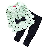 CHIC-CHIC 2pcs Baby Girl kids Clothing Set Long Sleeve Bowknot T-shirt Top + Pants Trousers Leggings Outfit