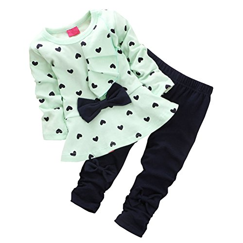 CHIC-CHIC 2pcs Baby Girl kids Clothing Set Long Sleeve Bowknot T-shirt Top + Pants Trousers Leggings Outfit (12-18 months, Green)